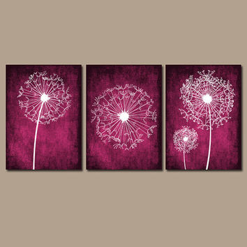 DANDELION Wall Art Prints Flower Artwork Pink Fuchsia Custom Colors Grunge Background Prints Bedroom Wall Art Bathroom Decor Dorm Set of 3