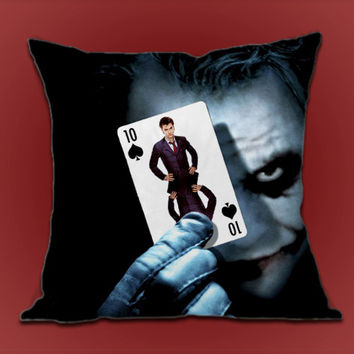 Cards The Joker Doctor Who on Decorative Pillow cover by ShimbonPillow