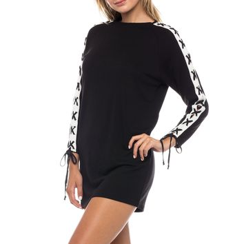 Lace Tie Sleeve Knit Mini Dress