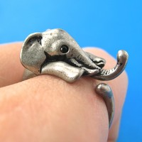 Elephant Animal Wrap Around Ring in Silver - Sizes 4 to 15 Available