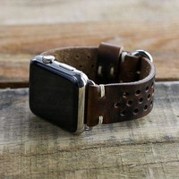 Leather Apple Watch Band | 42mm 38mm iWatch | Series 1 Series 2 Series 3 | Rally Style Apple Watch Strap | Horween Brown Nut Leather