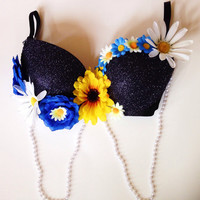 Black Nocturnal Flower Rave Bra