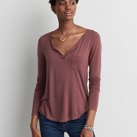 AEO Henley Long Sleeve Tee , Orchid Bouquet