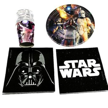 Star Wars Force Episode 1 2 3 4 5 60pcs/lot  plates cups napkins baby shower party decoration   theme birthday party supplies  dishes AT_72_6