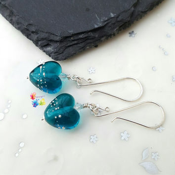 Teal & Silver Heart Earrings, Sterling Silver Earrings, Lampwork Jewellery, Gift for Her, Crystal Jewelry, blue jewellery, wife, girlfriend