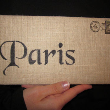 Hand Stencilled Paris Cotton Canvas Envelope Clutch Bag   City Bag
