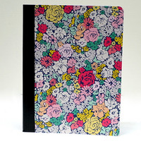 Bright Pastel Floral Flower Notebook / Composition Book