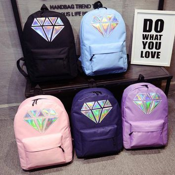 Day-First™ Women Canvas Backpack School Bags Holographic Silver Diamond Solid Teenage Girls Female Men Laptop Sale waterproof ba