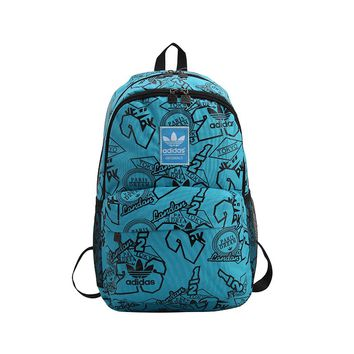 ADIDAS hot seller for fashionable men's and women's printed backpacks Sky Blue