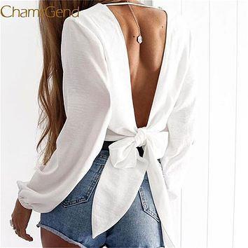 Show your Pretty Back Chamsgend Blouse Newly Women Sexy Deep V Backless Lace up Long Puff Sleeve Chiffon Shirt Crop Top 70921