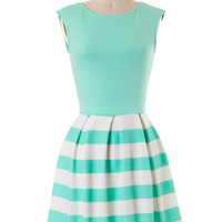 Scuba Striped Dress - Mint