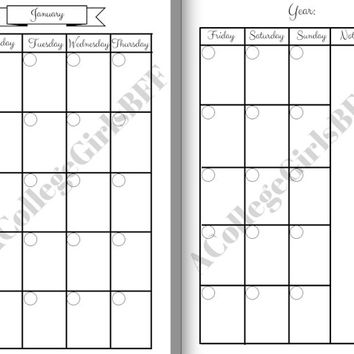 Personal Size Planner Undated Inserts for January through April. Month on two pages. Can be used in Filofax, Erin Condren, Kikki K, etc.