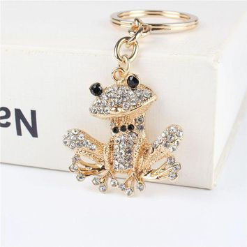 VONETDQ Lovely Frog Pendant Charm Rhinestone Crystal Purse Bag Keyring Key Chain Accessories Wedding Party Holder Keyfob Gift