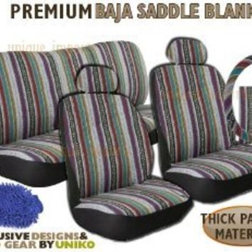 Baja Inca Saddle Blanket Seat Cover Set -  Front Rear Headrests Premium Combination Set