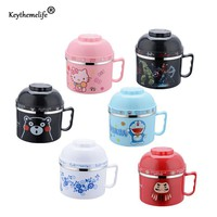 Keythemelife Portable Cartoon instant noodles bowl Food Thermo Lunch boxs for Kids Thermal Bento Lunchbox Stainless Steel E6
