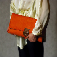 XL orange suede clutch by meshkadesign on Etsy