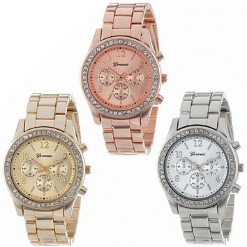2018 Fashion Dress Watches Women Men Faux Chronograph Quartz Plated Classic Round Crystals Watch relogio masculino Casual Clock