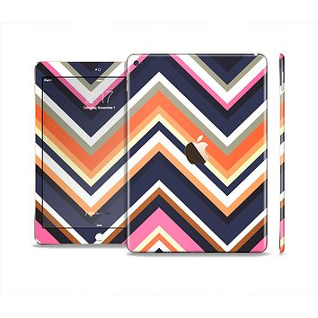 The Solid Pink & Blue Colored Chevron Pattern Skin Set for the Apple iPad Air 2