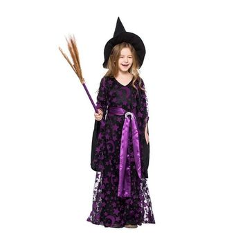 Halloween Witch Costume Magic Girl's Cosplay Purple Dress Festival Party Wear Role Playing Children Fancy Dress