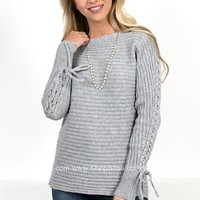 Lace Grey Ribbed Sweater