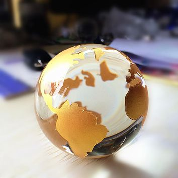 80mm Crystal Glass Marbles earth globe Silver/Gold world map Feng shui Quartz Sphere terrarium Desk Ornament nautical home decor