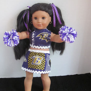 American Girl Cheer Outfit Created  Baltimore Ravens Fabric 18 Inch Doll Cheer Uniform Our Generation Doll Clothes By Sweetpeas Bows & More
