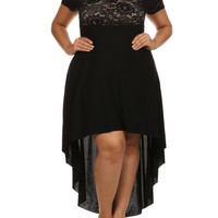 Plus Size Lovely See Through Lace Dip Hem Black Dress, Plus Size Clothing, Club Wear, Dresses, Tops, Sexy Trendy Plus Size Women Clothes