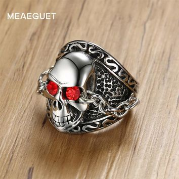 Meaeguet Punk Chain Devil Skull Rings Accessories For Men Stainless Steel Red Crystal Skeleton Ring Party Jewelry USA Size