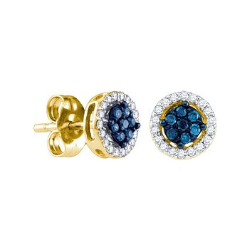 10k Yellow Gold Womens Round Blue Colored Diamond Cluster Stud Screwback Earrings 1/4 Cttw