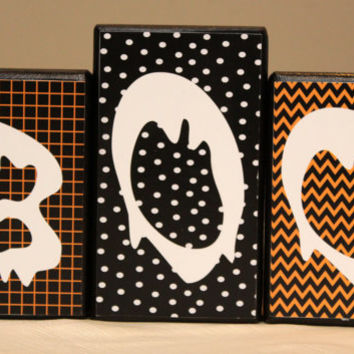 Reversible Halloween/Christmas Wood Blocks