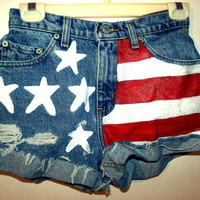 High waisted All American Flag Liht Distressd Denim