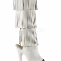 White Fringe Knee High Stripper Boot With 6 Inch Heels