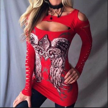 Punk Girls Long Sleeve Hollow Out Tops Womens Bodycon T-Shirt Wings Print Blouse