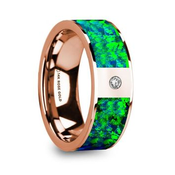Green Blue Opal Inlay Rose Gold Wedding Ring with Diamond
