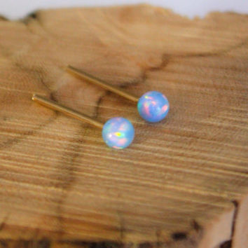 Opal Studs, classic 3mm 14k Gold Filled Studs, Blue Opal ball stud earrings, Gold Opal Posts, Statement earrings, October Birthstone, Brides