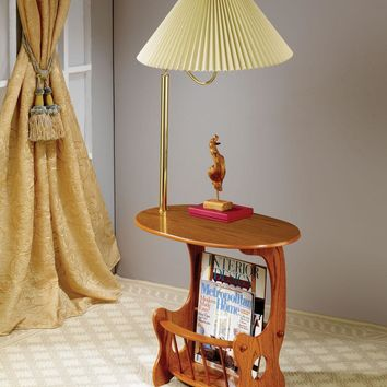 Oak finish wood side table with magazine rack and built in brass finish lamp