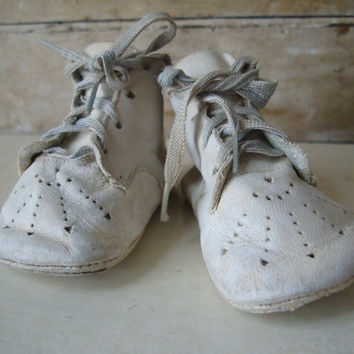 Vintage Baby Shoes Or Booties Leather