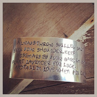 Hand Stamped 1 1/2 Inch 14 Gauge Heavy Weight Bracelet Cuff with Practical Magic Quote