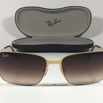 Ray-Ban Highstreet Navigator Sunglasses RB3514 Rectangle Gold Wire Brown Lens