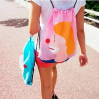 Boy Girl Print Drawstring Shoulder Bag Backpack