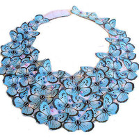 Blue Butterfly Bib Statement Necklace with pearls by lovisetto