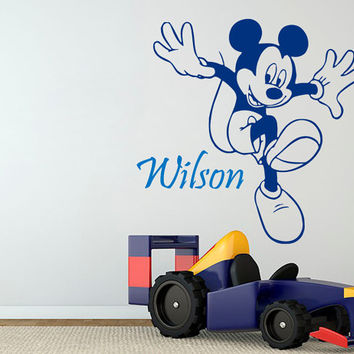 Name Wall Decal Mickey Mouse Boy Personalized Name Stickers Vinyl Decals Art Mural Home Bedroom Decor Interior Design Nursery Wall Decor KY2