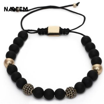 NADEEM Newest Wrist Band Men'S Natural Black Matte Stone Bead Pave CZ Copper Ball Charms Braided Macrame Bracelet Pulseras homme