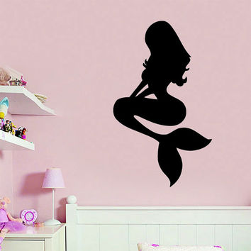 Wall Decals Vinyl Decal Sticker Bedroom Home Interior Design Art Mural Girl Mermaid Sea Ocean Water Nymph Kids Nursery Baby Room Decor KT76