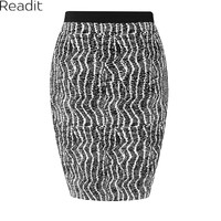 Black White Pencil Skirt Knitted High Waist Midi Bandage Skirt Plus Size Saia Bodycon Autumn Winter Skirts Women Faldas S1072