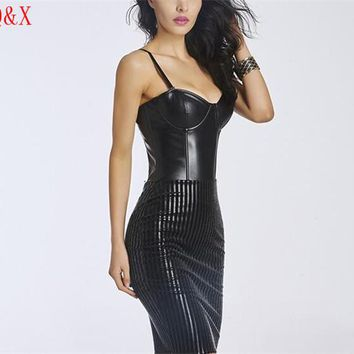 WK45 2017 Black Womens Sexy Long Corsets and Bustiers Push Up Gothic Long Dress Corset Body Shapers Clubwear S-XXL for Women