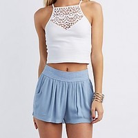 CROCHET TRIM CROPPED TANK
