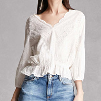 Embroidered Eyelet Peplum Top
