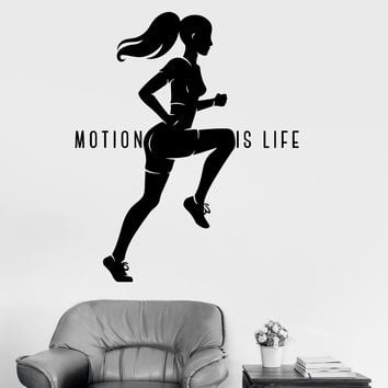 Vinyl Wall Decal Healthy Lifestyle Motivation Sports Woman Run Stickers Unique Gift (ig3307)