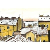 Rooftops in Prague 4 x 6 by artquirk on Etsy